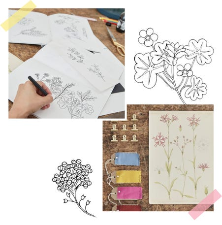 Collage of floral drawings